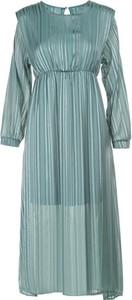 Niebieska sukienka Multu z długim rękawem z okrągłym dekoltem