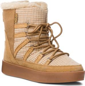 Brązowe śniegowce Pepe Jeans z zamszu