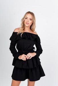 Sukienka ZOiO.pl z dekoltem w łódkę z długim rękawem