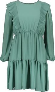 Zielona sukienka Garden Party mini z długim rękawem