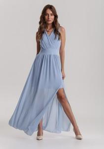 Niebieska sukienka Renee bez rękawów z dekoltem w kształcie litery v