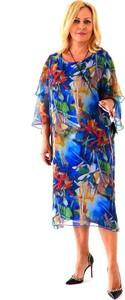 Sukienka Roxana w stylu casual z długim rękawem z szyfonu