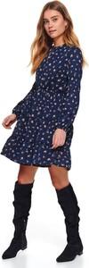 Niebieska sukienka Top Secret mini z długim rękawem rozkloszowana