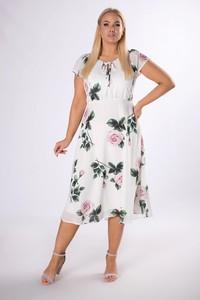 Sukienka Ptakmoda.com z tkaniny z krótkim rękawem z okrągłym dekoltem
