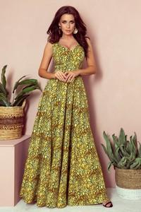 Zielona sukienka NUMOCO rozkloszowana maxi bez rękawów