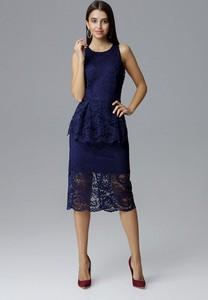 Sukienka Figl midi z okrągłym dekoltem baskinka