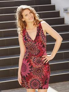 Sukienka Kéawa mini bez rękawów z dekoltem w kształcie litery v