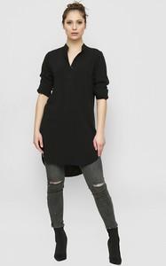 Czarna bluzka Freeshion z krótkim rękawem z dekoltem w kształcie litery v z tkaniny