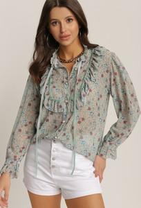 Miętowa bluzka Renee z długim rękawem z okrągłym dekoltem