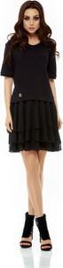 Czarna sukienka Lemoniade z krótkim rękawem z szyfonu