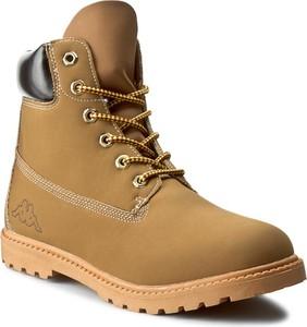Brązowe buty zimowe Kappa w stylu casual ze skóry sznurowane