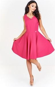d5b41b330f prosta elegancka sukienka. Różowa sukienka Bergamo midi gorsetowa bez  rękawów