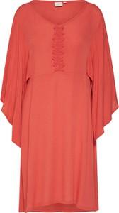 Czerwona sukienka Cream z okrągłym dekoltem midi