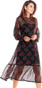 Sukienka Awama z szyfonu z długim rękawem w stylu casual