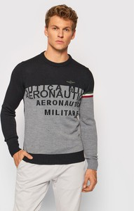 Sweter Aeronautica Militare z okrągłym dekoltem w młodzieżowym stylu