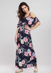 3c7a1cd490 Granatowa sukienka Renee maxi w stylu casual