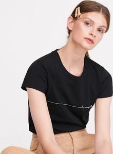 Czarny t-shirt Reserved w stylu casual z okrągłym dekoltem