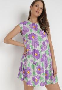Fioletowa sukienka born2be mini z okrągłym dekoltem bez rękawów