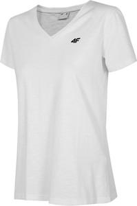 T-shirt 4F z bawełny z dekoltem w kształcie litery v