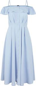 Niebieska sukienka Y.A.S z dekoltem w kształcie litery v z krótkim rękawem