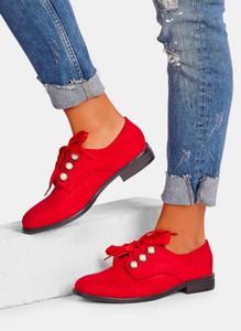 Czerwone półbuty DeeZee w stylu casual