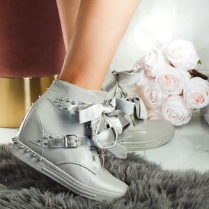 Sneakersy Royalfashion.pl sznurowane na koturnie