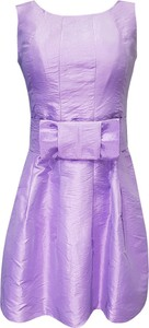 Fioletowa sukienka Fokus rozkloszowana bez rękawów z okrągłym dekoltem