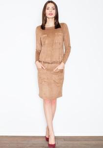 Brązowa sukienka Figl midi z okrągłym dekoltem w stylu casual