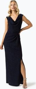 Granatowa sukienka Swing z dekoltem w kształcie litery v maxi prosta