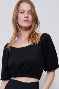Czarna bluzka Reserved w stylu casual z okrągłym dekoltem