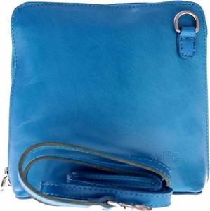 Niebieska torebka Vera Pelle ze skóry mała