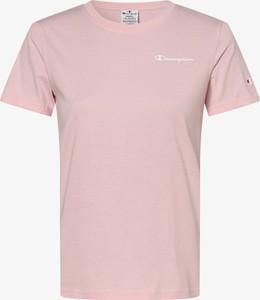 Różowa bluzka Champion z krótkim rękawem w sportowym stylu z bawełny