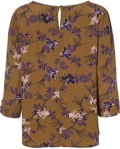 Brązowa bluzka Cream z okrągłym dekoltem w stylu vintage z tkaniny