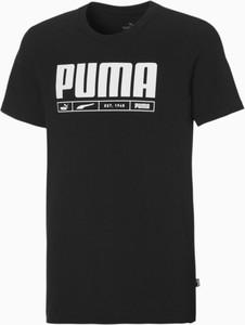 Czarna koszulka dziecięca Puma z dżerseju z krótkim rękawem dla chłopców