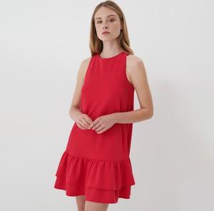 Czerwona sukienka Mohito bez rękawów trapezowa