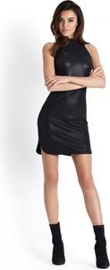 Czarna sukienka Moda Dla Ciebie z tkaniny dopasowana bez rękawów
