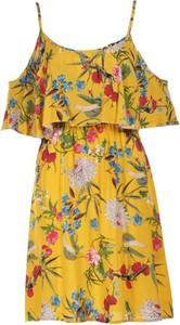 Żółta sukienka Multu na ramiączkach mini z dekoltem w kształcie litery v