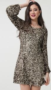 Srebrna sukienka born2be z długim rękawem