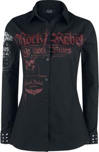 Czarna koszula Emp z bawełny z długim rękawem