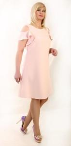 Sukienka Oscar Fashion trapezowa midi z krótkim rękawem