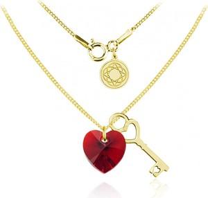 Lian Art Srebrny naszyjnik Key Serce Swarovski® z kluczykiem - 24k złocenie