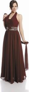 Brązowa sukienka Fokus rozkloszowana maxi