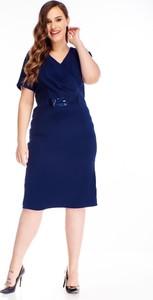 Niebieska sukienka N/A z dekoltem w kształcie litery v z krótkim rękawem