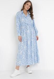 Sukienka born2be z dekoltem w kształcie litery v z długim rękawem trapezowa