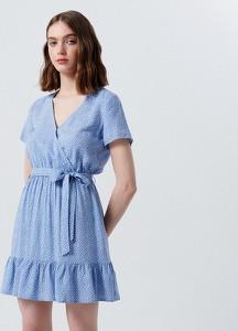 Niebieska sukienka Cropp kopertowa z dekoltem w kształcie litery v z krótkim rękawem