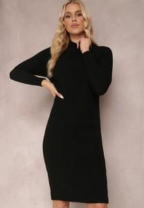 Czarna sukienka Renee w stylu casual z długim rękawem z dzianiny