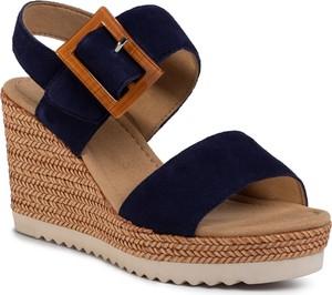 Granatowe sandały eobuwie.pl w stylu retro z klamrami z tkaniny