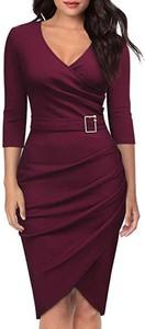 Czerwona sukienka IVET z długim rękawem