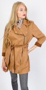 Brązowy płaszcz Olika z zamszu