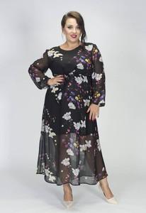 Sukienka Grandio z długim rękawem z szyfonu